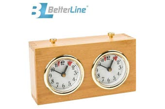 BETTERLINE Professional Analogue Wood Chess Clock Timer - Wind-Up Mechanism - No Battery Needed