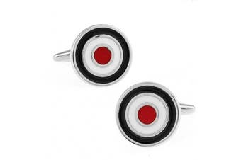 Ashton and Finch RAF Bullseye and MOD Cufflinks in a Free Luxury Presentation Box. Novelty Aviation RAF Theme Jewellery