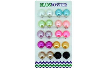 14mm Colour Faux Pearl Bead Clip On Earrings Gift For Little Teen Girls Womens