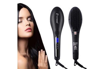 (women straightener) - Hair Straightener with 110V-220V Anion Anti-scald Fast Heating Electric Hot Air Beard Hair Straightener Brush for Women Hot Combs