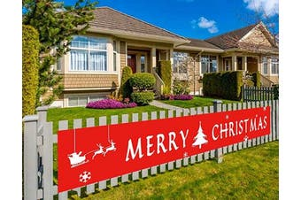 (Christmas-red) - Colormoon Merry Christmas Banner with Christmas Tree Snowflake for Xmas Home Party Holiday Bunting Banner Garland Photo Prop Christmas Decorations Outdoor Indoor (3m x 0.5m)