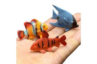 Under the Sea Plastic Sea Life Creatures Fishes, 12 Pcs Colourful Mini Fish Toys Set, Vinyl Pastic Cute Learning Educational Party Favours Toy & Christmas Gifts for Boys, Girls, Kids