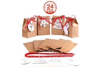OurWarm 24pcs Christmas Gift Bags Assortment Kraft Paper Favour Bags with Holiday Gift Tags for Christmas Party Supplies, 5 x 7.6cm x 18cm Christmas Goodies Bags