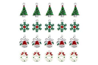 20 Pcs Assorted Enamel Charm Pendant Silver Plated Christmas Tree Snowflake Garland Bell Dainty Dangle Crafting Accessories Decorations for Necklace Bracelet Ankle Earring Jewellery DIY Making