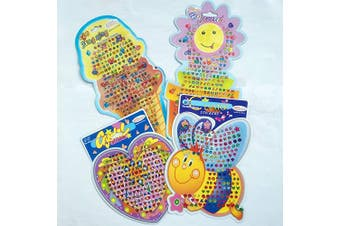 Agreatca 10 Pieces 900 Pairs Sticker Earrings 3D Gems Sticker Girls Stick on Earrings,Assorted Designs and Colours New Party Favours, Scrapbook Gems, Decorate Cards