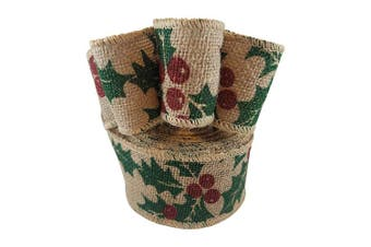 Wired Edge Burlap Ribbon with Christmas Holiday Holly Berry Print - 6.4cm Wide, 10 Yards Long