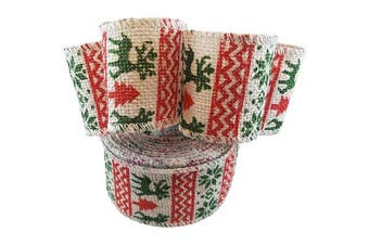Wired Edge Burlap Ribbon with Christmas Holiday Green Deer Snowflake Print - 6.4cm Wide, 10 Yard Long
