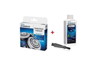 (SH90 w/ Brush & Solution) - Philips Norelco SH90 Replacement Heads with Shaver Aid Brush & HQ200 Jet Clean Solution
