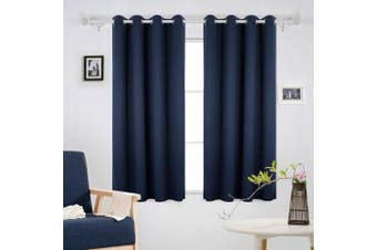 (180x140, Blue) - Deconovo Solid Curtains Blackout Curtains Room Darkening Eyelet Curtains Thermal Inshulated Curtains for Boys Bedroom 140x180cm Navy Blue 2 Panels