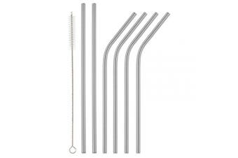 (Silver, 4 Bent + 2 Straight) - Homiu Stainless Steel Straws Forever Includes Cleaning Brush Stainless Steel Eco-Friendly Reusable (Silver, 4 Bent + 2 Straight)