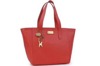 (Red) - Catwalk Collection Handbags - Women's Large Saffiano Leather Tote/Shopper Shoulder Bag - Katharina
