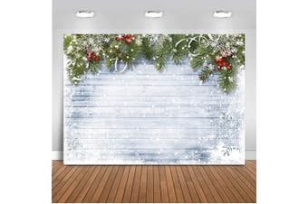 (Tree-2) - Mehofoto Grey Wood Floor Christmas Backdrop Green Tree Winter Snowflake Xmas Portrait Photography Background 2.1m x 1.5m Vinyl Merry Christmas Backdrops