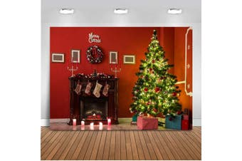 (Tree-1) - Mehofoto Christmas Photography Backdrop Christmas Tree Balls Gifts Fireplace Gift Background 2.1m x 1.5m Vinyl Merry Christmas Red House Socks Decor Backdrops