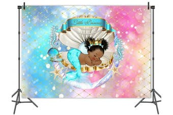 (Mermaid-2) - Mehofoto Royal Mermaid Princess Backdrop Under Sea Glitter Shell Crown Background 2.1m x 1.5m Vinyl Black Girl Backdrops Banner for Baby Shower, Birthday Party