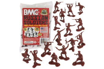 (Burgundy Brown) - BMC Classic Marx Russian Plastic Army Men - 36pc WW2 Soldier Figures Made in USA