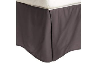 (Twin XL, Charcoal) - 100% Brushed Microfiber Bed Skirt, Twin XL, Charcoal, Wrinkle Resistant, Pleated Corners