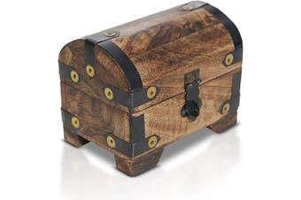 (Truhe Dark 4,3x2,7x3,5inch) - Brynnberg wooden pirate treasure chest   decorative storage box model 'Dark Snow small'   Vintage decoration handmade  