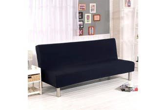 (Black) - Solid Colour Armless Sofa Bed Cover Polyester Spandex Stretch Futon Slipcover Protector 3 Seater Elastic Full Folding Couch Sofa Shield fits Folding Sofa Bed without Armrests 200cm x 130cm in (Black)