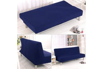 (Dark Blue) - Solid Colour Armless Sofa Bed Cover Polyester Spandex Stretch Futon Slipcover Protector 3 Seater Elastic Full Folding Couch Sofa Shield fits Folding Sofa Bed without Armrests 200cm x 130cm in (Dark Blue)