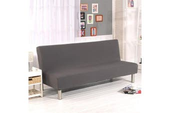 (Grey) - Solid Colour Armless Sofa Bed Cover Polyester Spandex Stretch Futon Slipcover Protector 3 Seater Elastic Full Folding Couch Sofa Shield fits Folding Sofa Bed without Armrests 200cm x 130cm in (Grey)