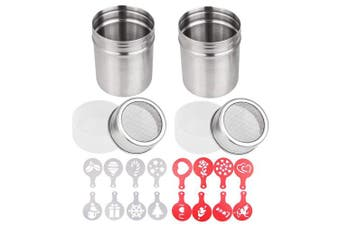 2 Pcs Stainless Steel Powdered Sugar Shaker, 300ml, TuNan Coffee Cocoa Cinnamon Dredges with Fine-Mesh Lid for Kitchen Cooking, with 16 Pcs Coffee Decorating Stencils (Red & White)