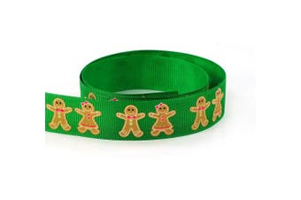 "(7/8"" Gingerman Green) - Gingerman Girl Cookies Christmas Grosgrain Fabric Ribbon 7/8"" 22mm 10 Yards Holiday Exclusive Design (7/8"" Gingerman Green)"