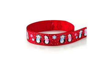 """(7/8"""" Penguin Red) - Grosgrain Polyester Fabric Ribbon Penguin Christmas 7/8"""" 22mm 10 Yards Winter Holiday Exclusive Design (7/8"""" Penguin Red)"""