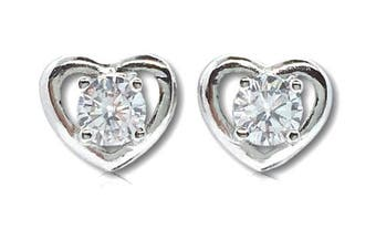 925 Sterling Silver and AAA cubic zirconia heart earrings featuring centre stone with cut out surround - supplied in a complimentary organza gift bag.