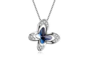 Sterling Silver Butterfly Pendant Necklace with Blue Crystals, Jewellery Gifts for Women