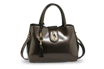 (Grey) - Women Classy and Elegant Fashion Tassel Design PU Patent Leather Handbag office Bag