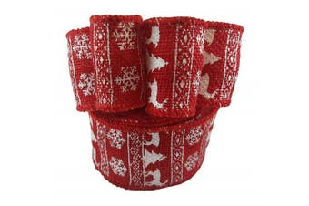Wired Edge Burlap Ribbon with Christmas Holiday Red Deer Snowflake Tree Print - 6.4cm Wide, 10 Yard Long