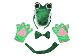 (1-4 years) - Petitebelle 3D Green Crocodile Headband Bowtie Tail Gloves Children 4pc Costume (1-4 years)