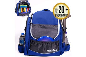 (Blue) - Athletico Power Shot Disc Golf Backpack | 20+ Disc Capacity | Pro or Beginner Disc Golf Bag | Unisex Design