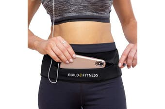 (Black) - Build & Fitness Zipper Running Belt, Adjustable Waist with Key Clip - Fits Fuel GU's, iPhone 7,8 Plus,XS,11,Pro, Samsung S8,S9,S10 - for Men, Women, Runners, Jogging, Gym, Yoga, Workout, Sports
