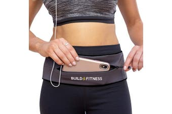 (Graphite) - Build & Fitness Zipper Running Belt, Adjustable Waist with Key Clip - Fits Fuel GU's, iPhone 7,8 Plus,XS,11,Pro, Samsung S8,S9,S10 - for Men, Women, Runners, Jogging, Gym, Yoga, Workout, Sports