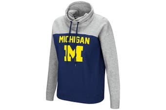 (Small, Michigan Wolverines) - Colosseum NCAA Women's-The Talk-Funnel Neck Pullover Sweatshirt-Team Colour with Heather Grey