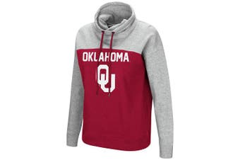 (Small, Oklahoma Sooners) - Colosseum NCAA Women's-The Talk-Funnel Neck Pullover Sweatshirt-Team Colour with Heather Grey
