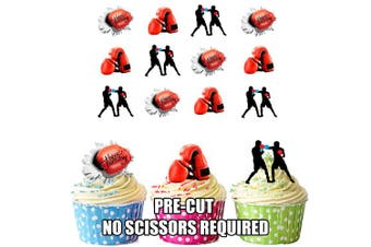 Boxing Gloves Happy Birthday Mix- 12 EDIBLE WAFER CAKE TOPPERS STAND UP STANDUPS