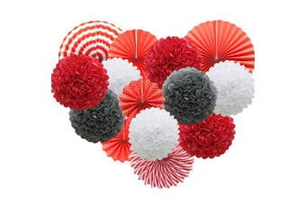 (red) - Red Hanging Paper Party Decorations, Round Paper Fans Set Paper Pom Poms Flowers for Birthday Wedding Graduation Baby Shower Events Accessories