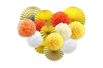(yellow) - Yellow Hanging Paper Party Decorations, Round Paper Fans Set Paper Pom Poms Flowers for Birthday Wedding Graduation Baby Shower Events Accessories