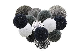 (black) - Black Hanging Paper Party Decorations, Round Paper Fans Set Paper Pom Poms Flowers for Birthday Wedding Graduation Baby Shower Events Accessories