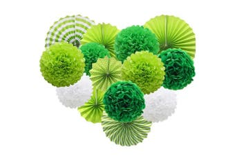 (green) - Green Hanging Paper Party Decorations, Round Paper Fans Set Paper Pom Poms Flowers for Birthday Wedding Graduation Baby Shower Events Accessories