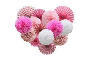(pink) - Pink Hanging Paper Party Decorations, Round Paper Fans Set Paper Pom Poms Flowers for Birthday Wedding Graduation Baby Shower Events Accessories
