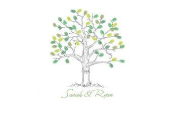 SwirlColor Alternative Guest Book Wedding Fingerprint Tree Thumbprint Tree Guest Book with Ink Pad