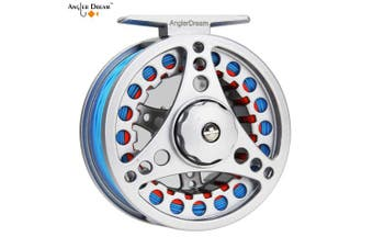 (3/4WT Fly Reel with Line Combo, Sky Blue Fly Line) - AnglerDream 1 2 3 4 5 6 7 8WT Fly Reel with Line Combo Large Arbour Aluminium Fly Fishing Reels