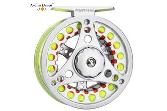 (3/4WT Fly Reel with Line Combo, Fluo Yellow Fly Line) - AnglerDream 1 2 3 4 5 6 7 8WT Fly Reel with Line Combo Large Arbour Aluminium Fly Fishing Reels