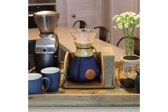 (6 Cup Wood Collar) - Blue Horse Cosy for Chemex Coffee Maker (Medium Wood Collar) USE SIZING INSTRUCTIONS BELOW