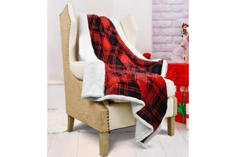 "(Red Buffalo) - Catalonia Red Plaid Sherpa Throw Blanket,Reversible Super Soft Warm Comfy Fuzzy Snuggle Micro Fleece Plush Throws for Bedding Couch TV 60"" x 50"" Buffalo Cheque"