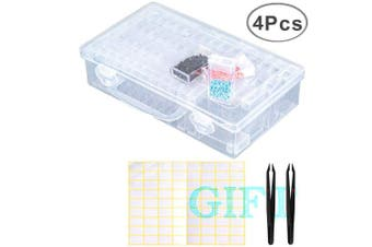(64pcs) - SanerDirect 64 Grids Diamond Painting Drill Storage Container, Beads Organiser Storage Case with Label and Tweezers