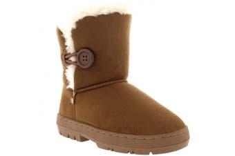 (10 UK, Light Tan) - Holly Kids Girls Button Winter Snow Rain Cosy Casual Warm Boots